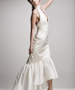 ecrü hernyóselyem taft menyasszonyi ruha