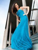 kék estélyi ruha organza anyagból
