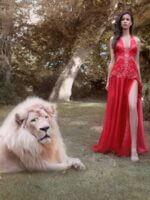 piros organza estélyi ruha