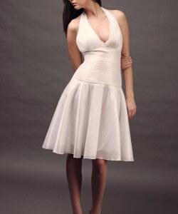 ráncolt rövid esküvői ruha
