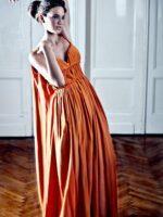 narancssárga báli ruha selyemből