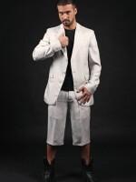 szürke selyem-gyapjú öltöny