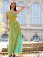 zöld estélyi ruha muszlin anyagból